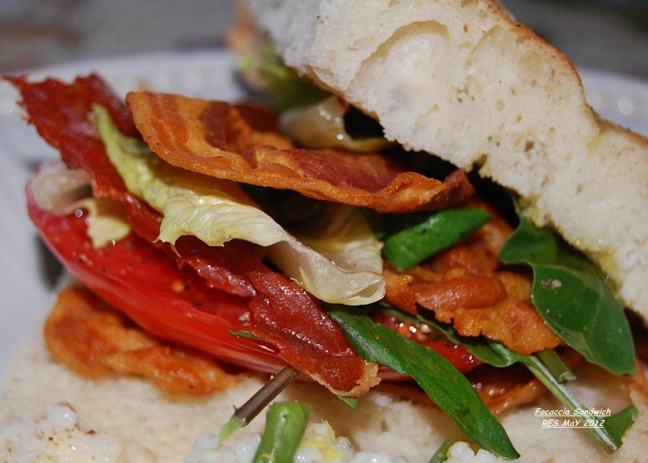 Foccacia, Arugula Pancetta, Prosciutto Sandwich