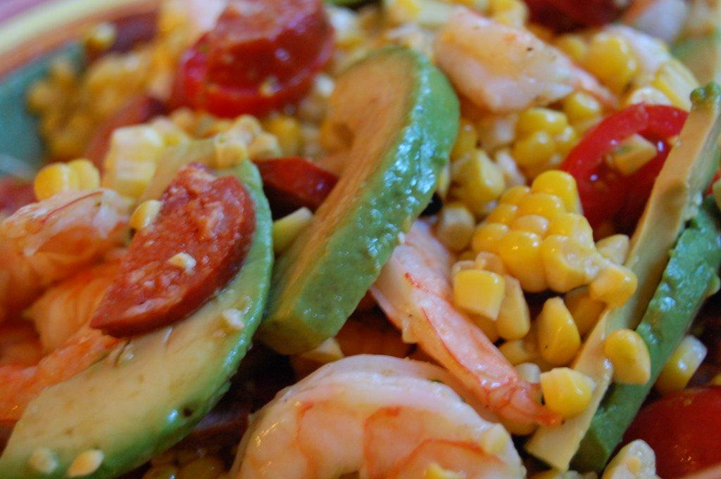 Grilled Corn and Shrimp with Linguica and Avocado SaladCucina Magia