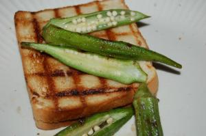 Grilled Pimento Cheese with Grilled OkraIII