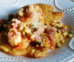 Shrimp Tasso and Okra Corn Cakes II