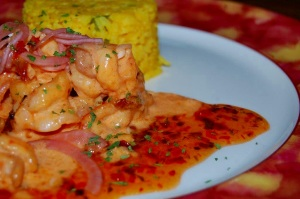 Shrimp Tasso Henican Dinner with Yellow Rice