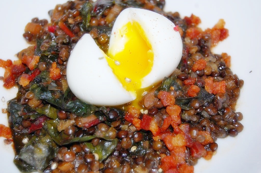 Braised French Green Lentils with Chard, Pancetta & Poached Egg