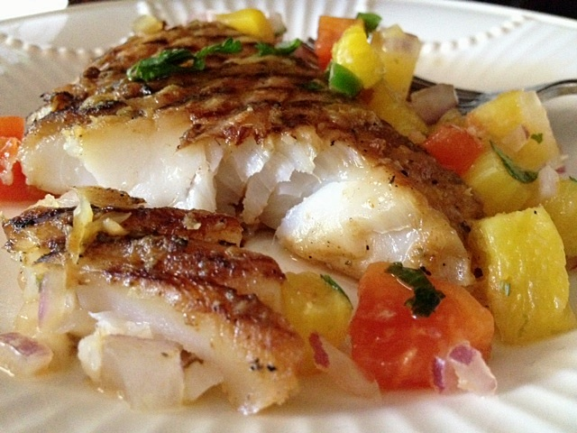 Grilled grouper fresh mango pineapple papaya salsa for Grouper fish recipes