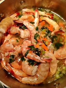 Peel and Eat Shrimp in Vegetable Broth