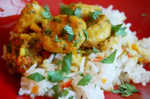 Shrimp Curyy Over Jasmine Rice