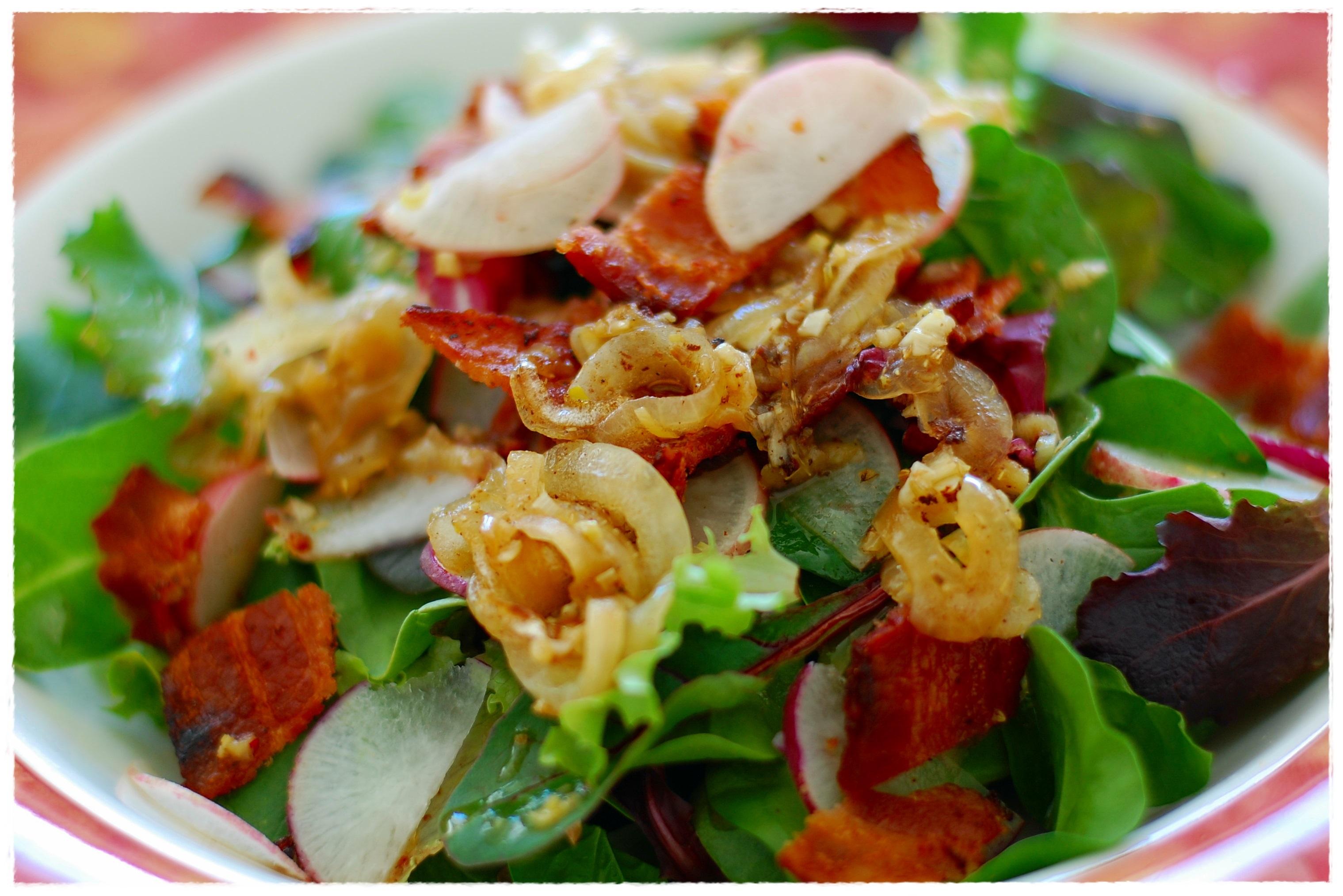 Baby Greens with Lemon, Ginger, & Crispy Pork – Cucina Magia