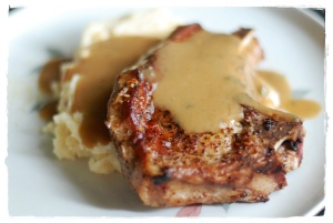 Pan Seared Chop with Ramen Sauce