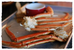 Snow Crab Legs with lemon balsamic butter