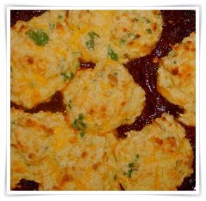 Braise Beef Chili and Cornbread Dumplings