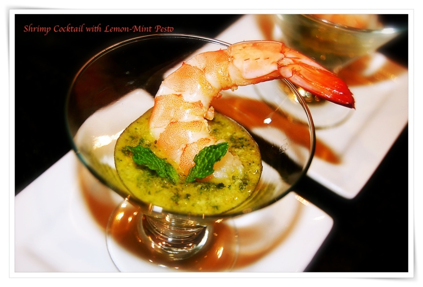 Shrimp with Lemon Mint Pesto