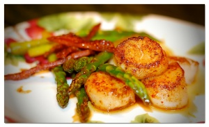 Seard Scallops with asparagus and candied bacon