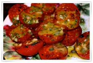 Grilled tomatoes with mustard caper sauce