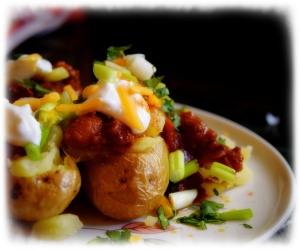 Chili stuffed potatoes