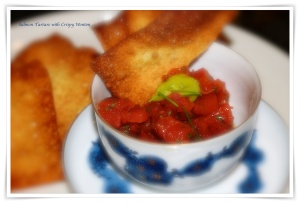 Salmon Tartare with Crispy Wonton Chips